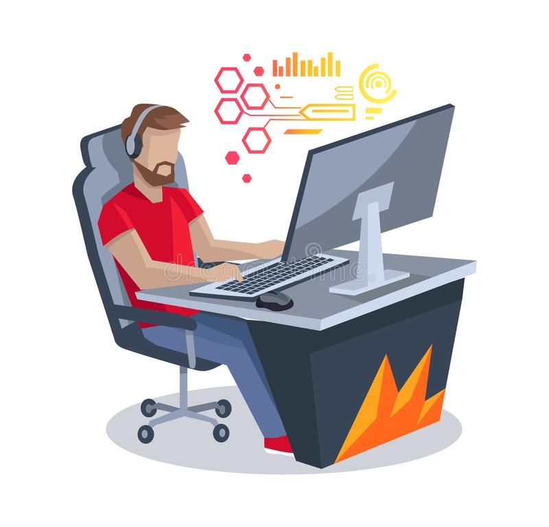 Gamer in Front of Computer Vector Illustration. Gamer in front of computer isolated on white background. Vector illustration with cyber sportsman sitting on stock illustration