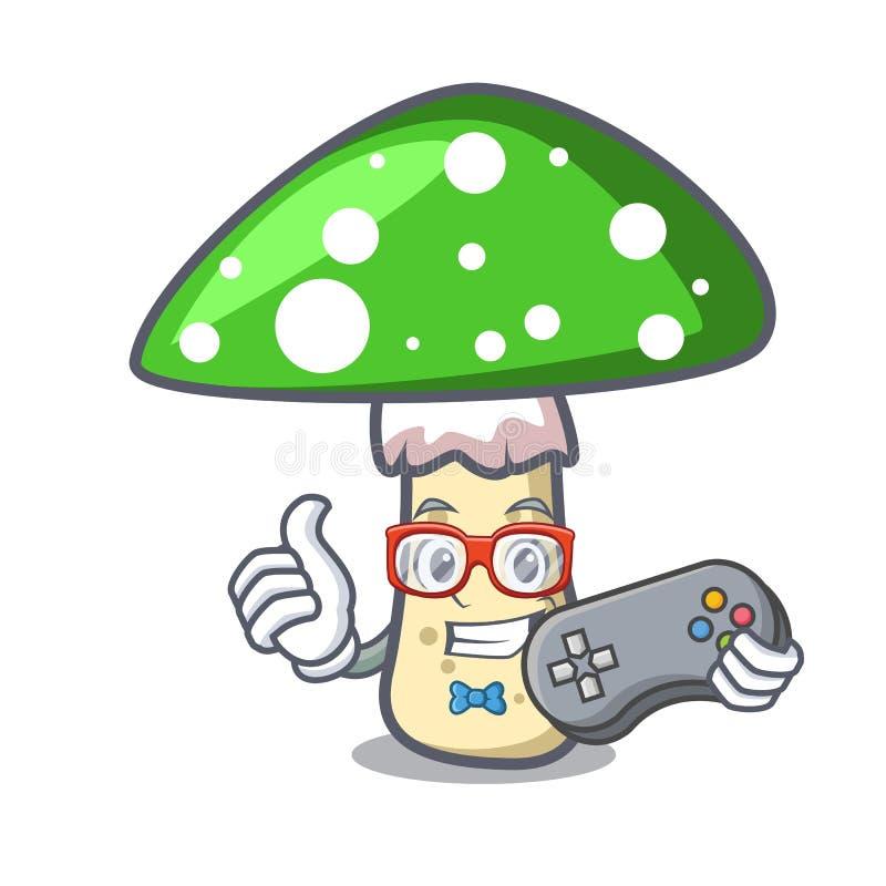 Gamer green amanita mushroom mascot cartoon. Vector illustration vector illustration