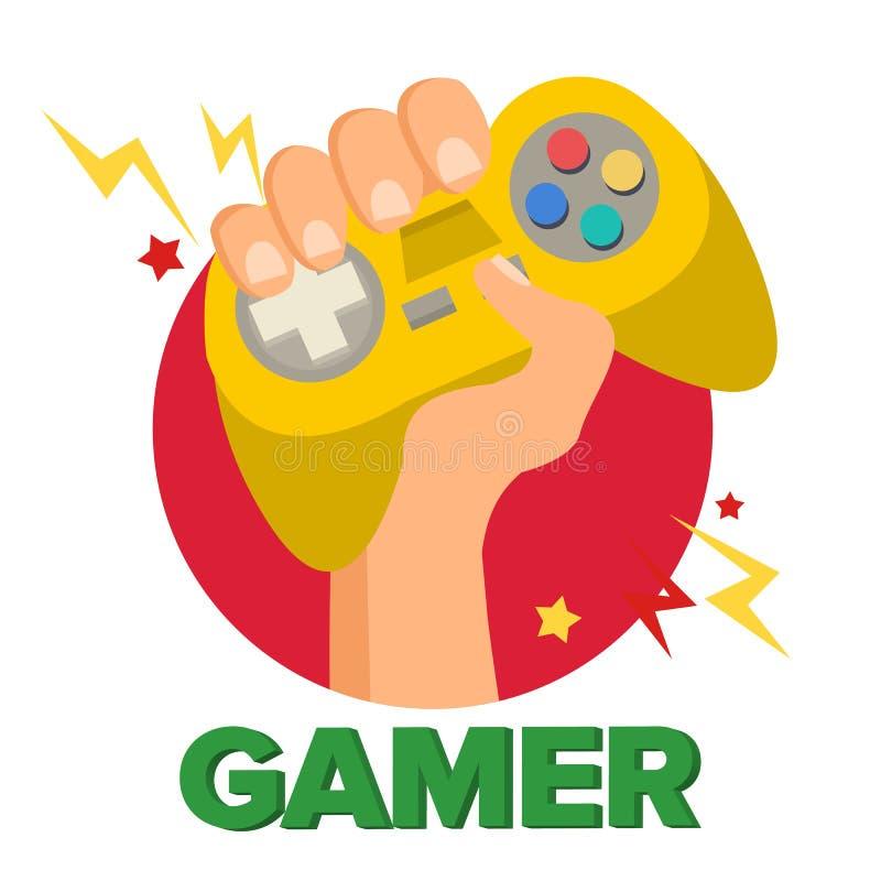 Gamer-Hand mit Joy Stick Vector Abstrakte Abbildung 3d Videospiel-Konsole, Prüfer Symbol, Gamepad Lokalisierte flache Karikatur vektor abbildung
