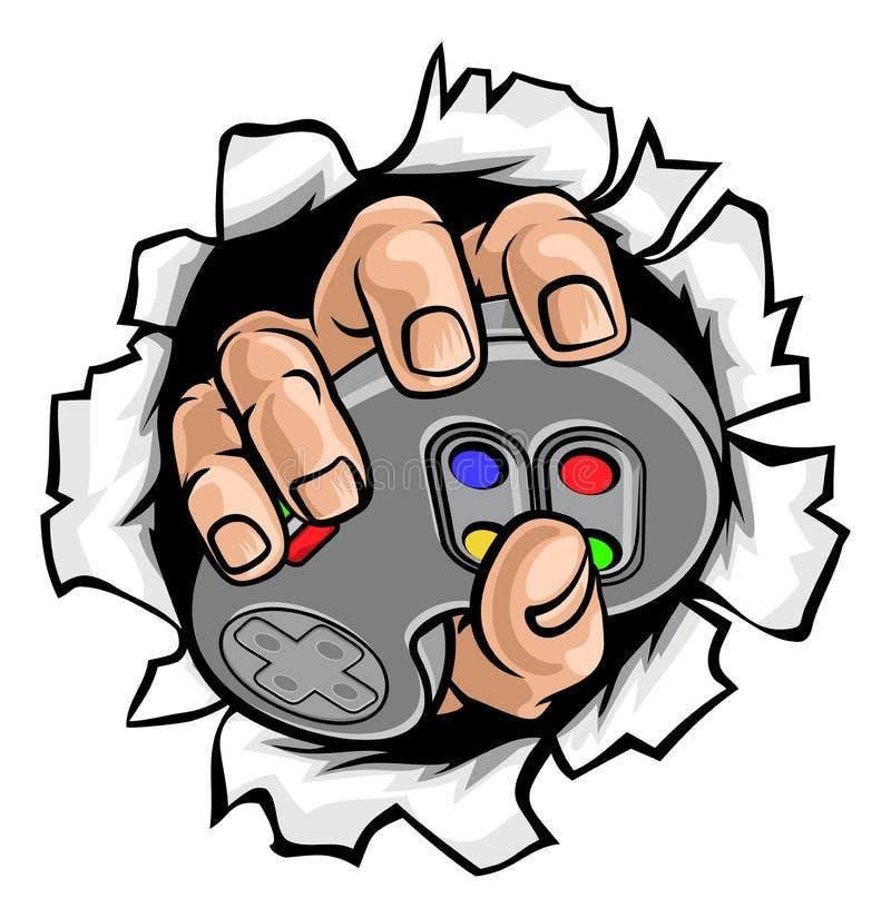 Gamer-Hand und Videospiel-Kontrolleur Breaking Wall stock abbildung