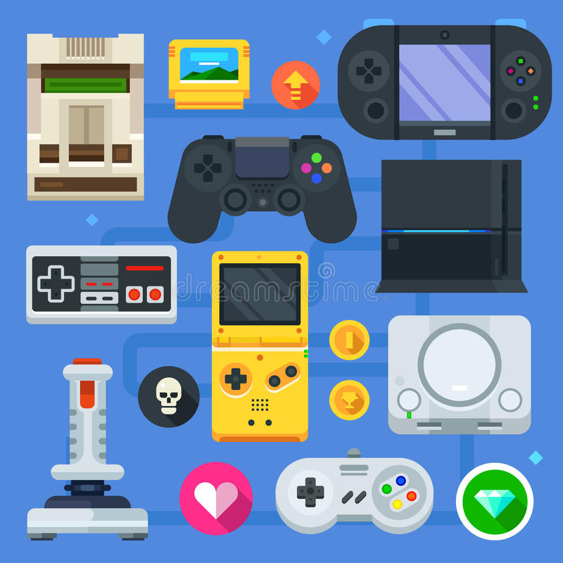 The gamer icon set stock illustration