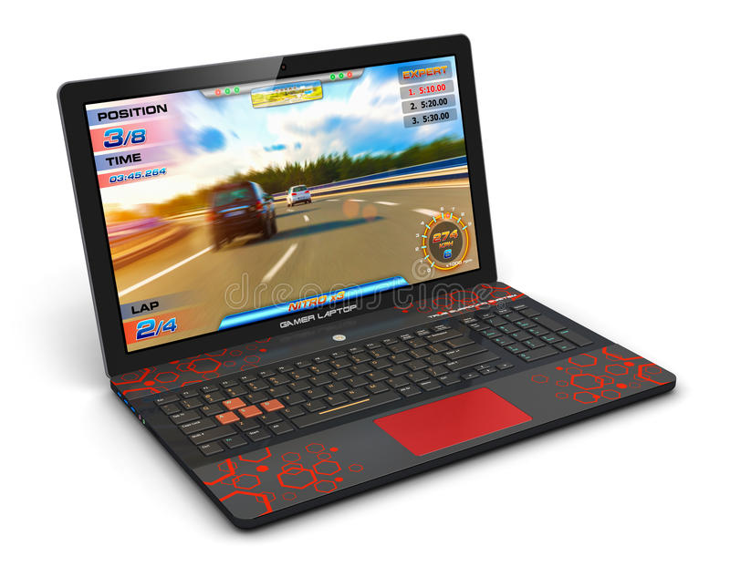 Gamer laptop with video game. Creative abstract computer gaming and PC entertainment technology concept: modern black gamer laptop or notebook with video game royalty free illustration