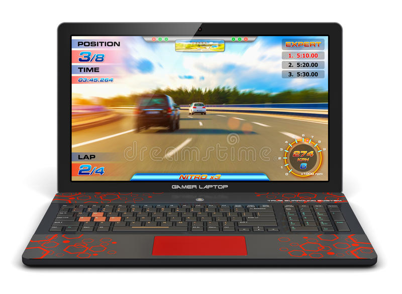 Gamer laptop with video game. Creative abstract computer gaming and PC entertainment technology concept: modern black gamer laptop or notebook with video game stock illustration