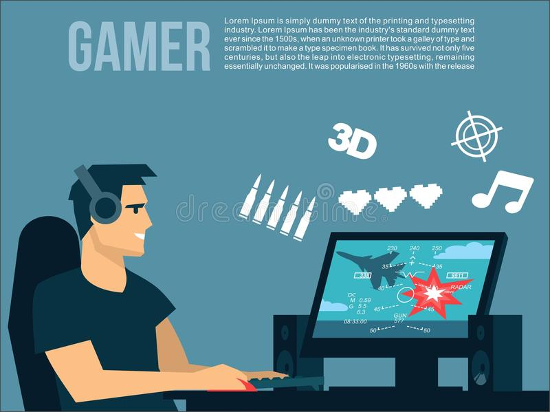 Gamer man plays on the computer air combat arcade and game icons around him vector illustration