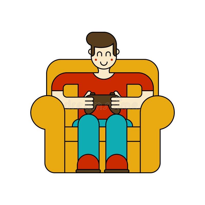 Gamer na cadeira Indivíduo e jogo de vídeo Menino e manche Cibersport ilustração stock