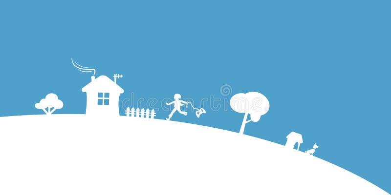 Gamer no fundo azul do vetor da vila ilustração stock
