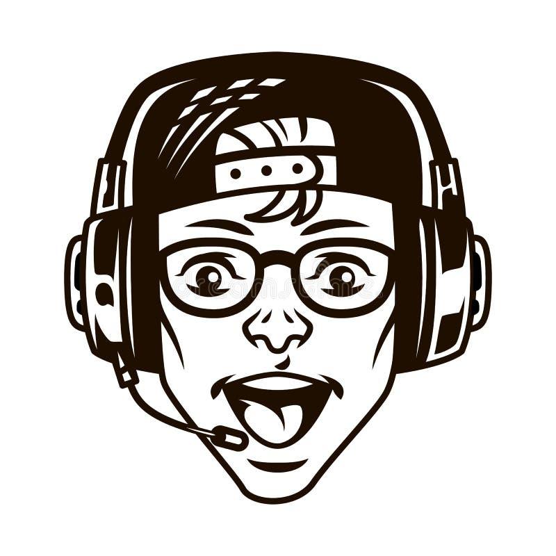 Gamer novo feliz do vintage nos auriculares ilustração do vetor