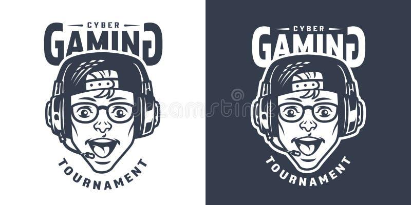 Gamer novo feliz no emblema dos auriculares ilustração do vetor