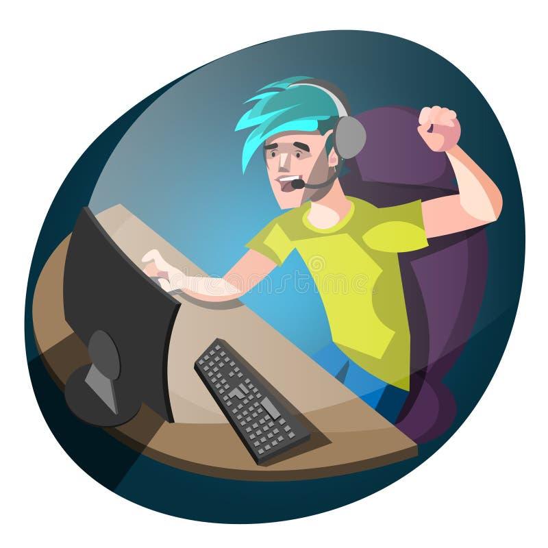 Gamer novo que usa o computador para jogar jogos ilustração stock