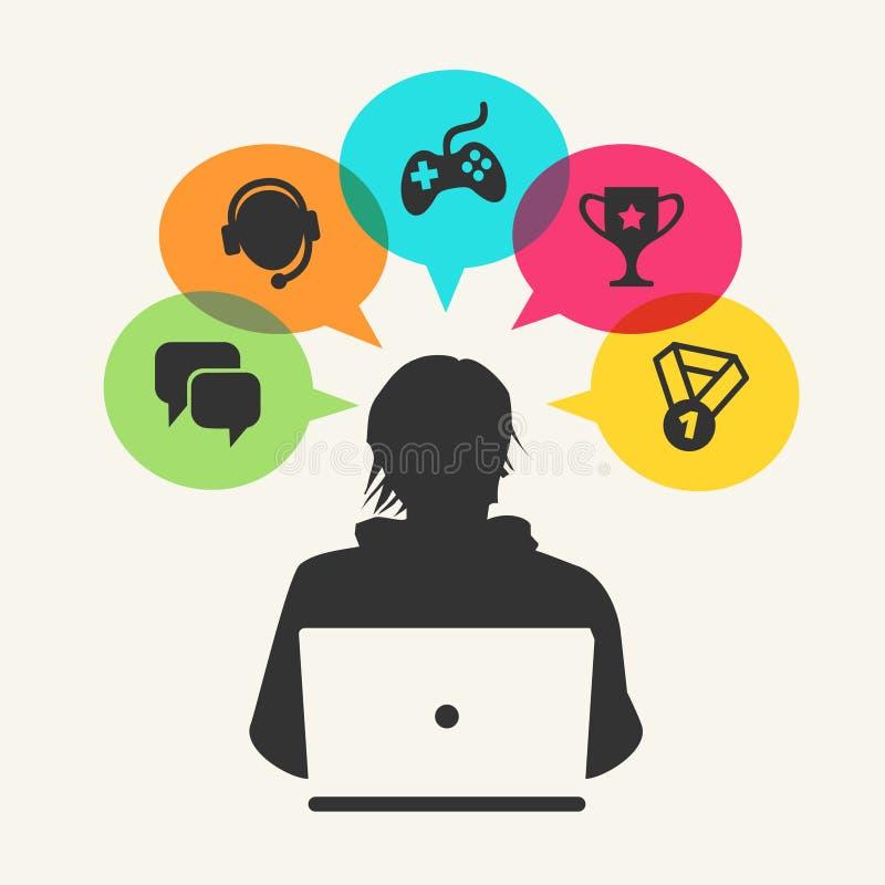 Gamer och bärbar dator royaltyfri illustrationer