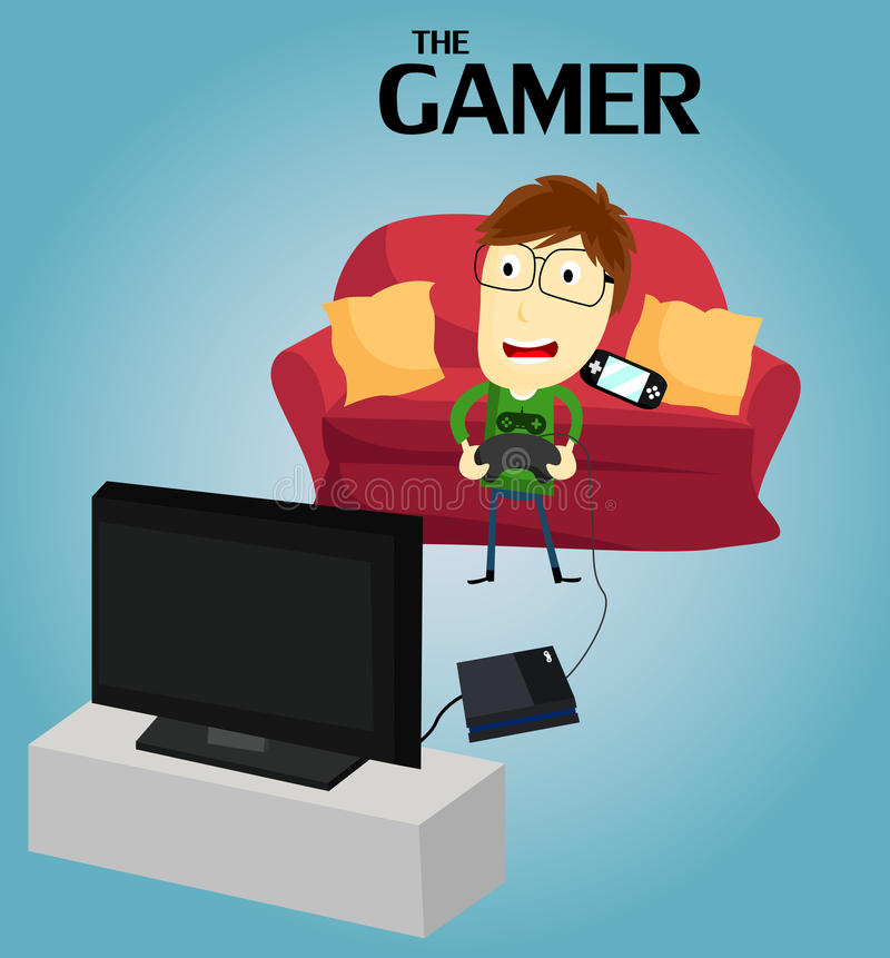 Gamer. A gamer that play video game royalty free illustration