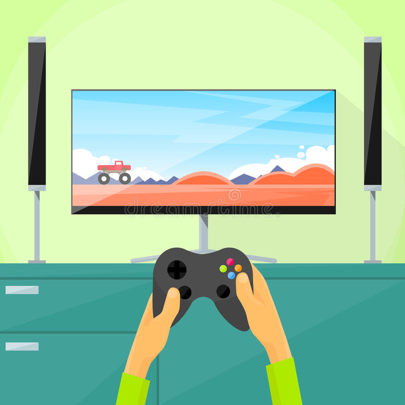 Gamer Play Video Game Tv Screen Hold Pad. Controller Flat Vector Illustration royalty free illustration