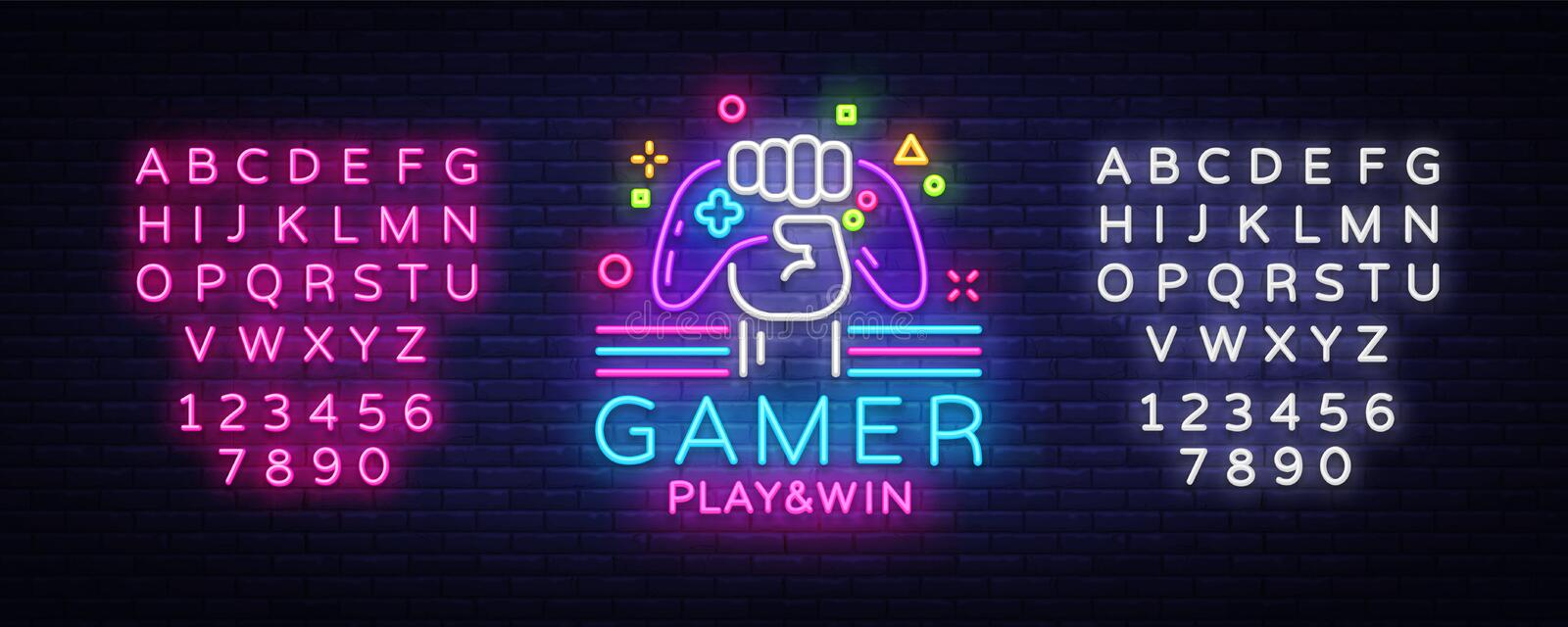 Gamer Play Win logo neon sign Vector logo design template. Game night logo in neon style, gamepad in hand, modern trend. Design, light banner, bright stock illustration