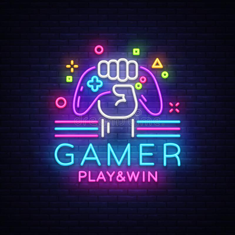 Gamer Play Win logo neon sign Vector logo design template. Game night logo in neon style, gamepad in hand, modern trend vector illustration