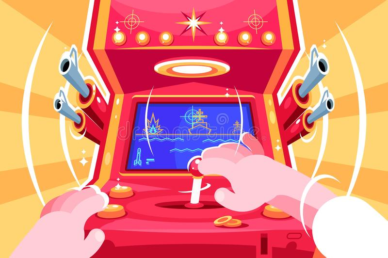Gamer playing sea battle arcade video game. Retro slot machine with joystick. Flat. Vector illustration royalty free illustration
