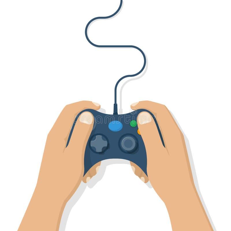 Gamer que guarda o gamepad ilustração stock