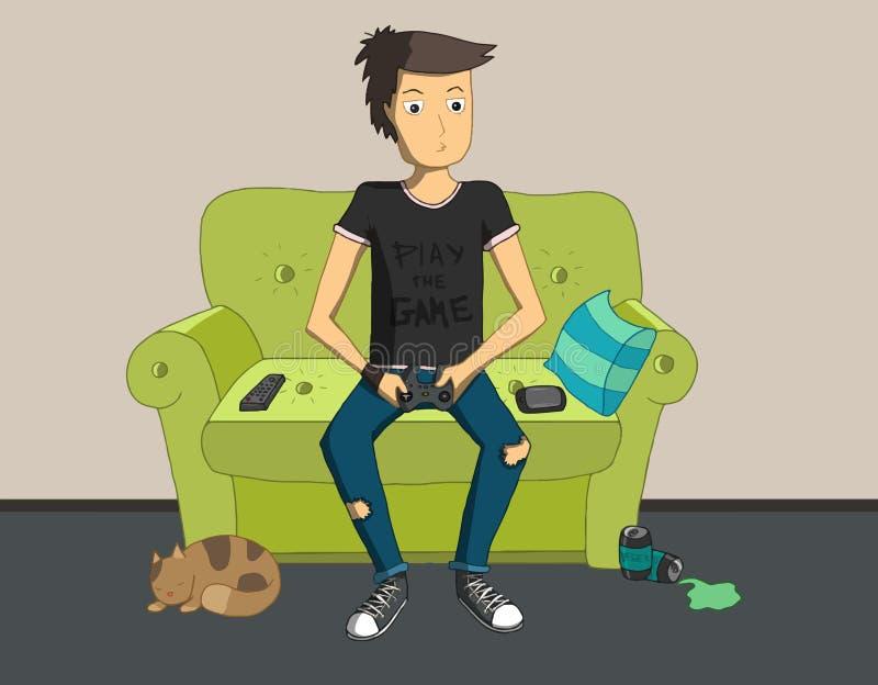 Gamer que senta-se em casa e que joga jogos ilustração stock