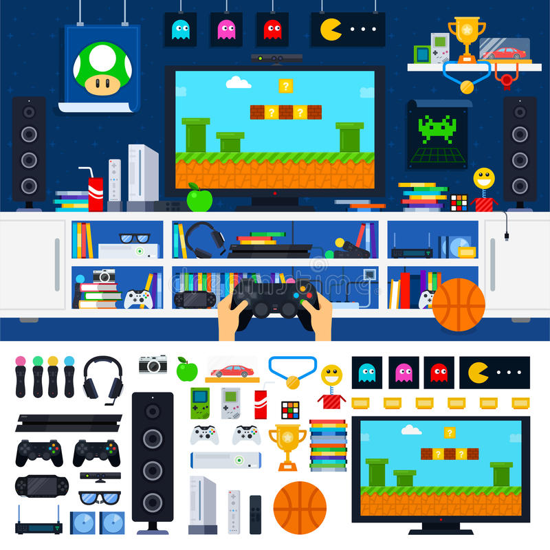 Gamer room interior with gadgets. Gamer tools vector flat illustrations. Gamer room with different gadgets and other tools. Technology and modern life concept stock illustration