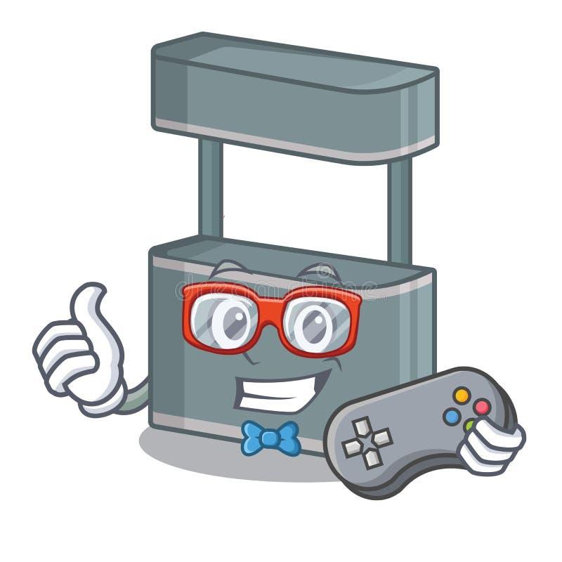 Gamer trade stand on the cartoon roadside. Vector illustration royalty free illustration