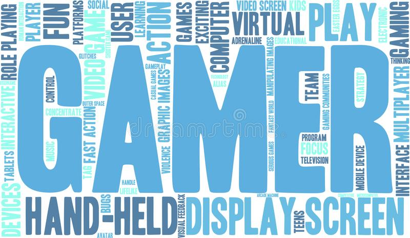 Gamer Word Cloud. On a white background stock illustration