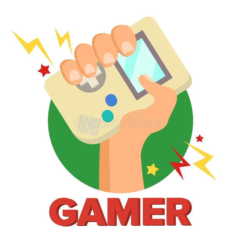 Gamerbegreppsvektor LekDigital design Bärbar konsol, kontrollant Symbol, Gamepad Gammal grej Game Boy isolerat royaltyfri illustrationer
