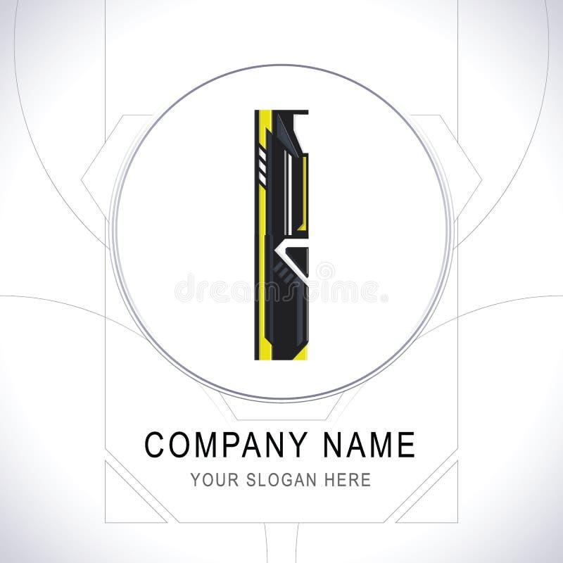 Gamergemenskap Logo Symbol Icon Vector för bokstav I stock illustrationer