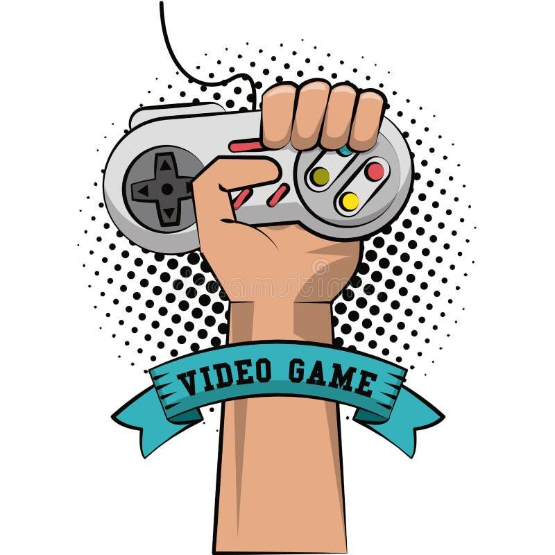 Gamerhand mit gamepad stock abbildung