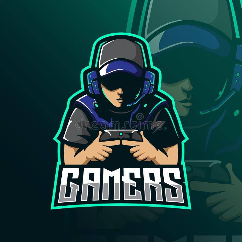 Gamers mascot logo design vector with modern illustration concept style for badge, emblem and tshirt printing gamer illustration 皇族释放例证