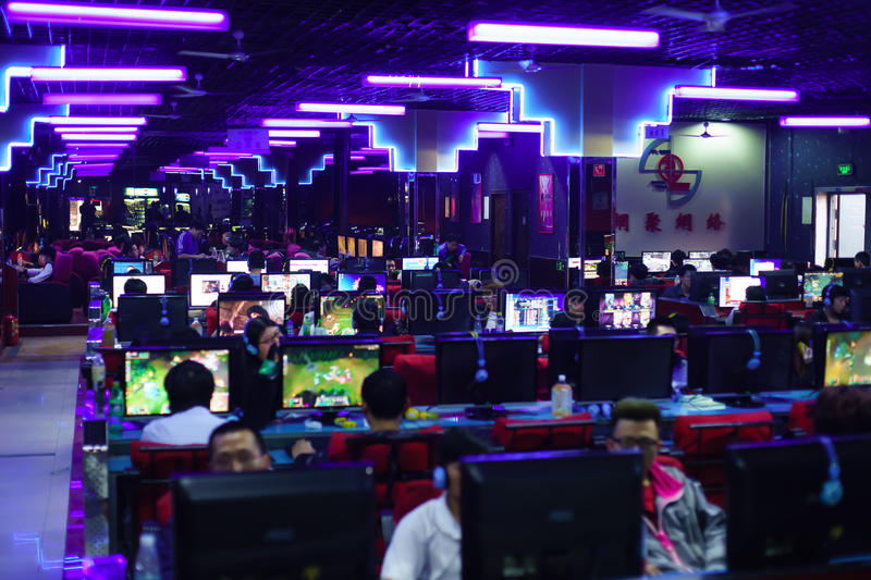 Gamers in night game club stock image