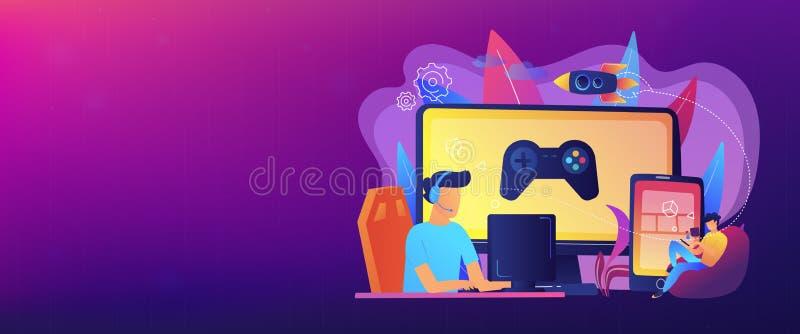 Cross-platform play concept banner header. vector illustration