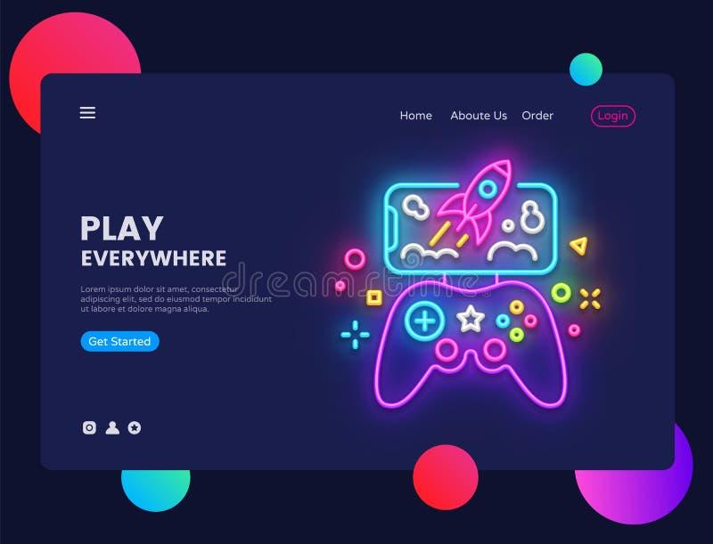Gamerwebsitekonzeptfahne Vektor-Designschablone Spielen Sie überall helle Fahne in der Neonart, modernes Tendenzdesign vektor abbildung