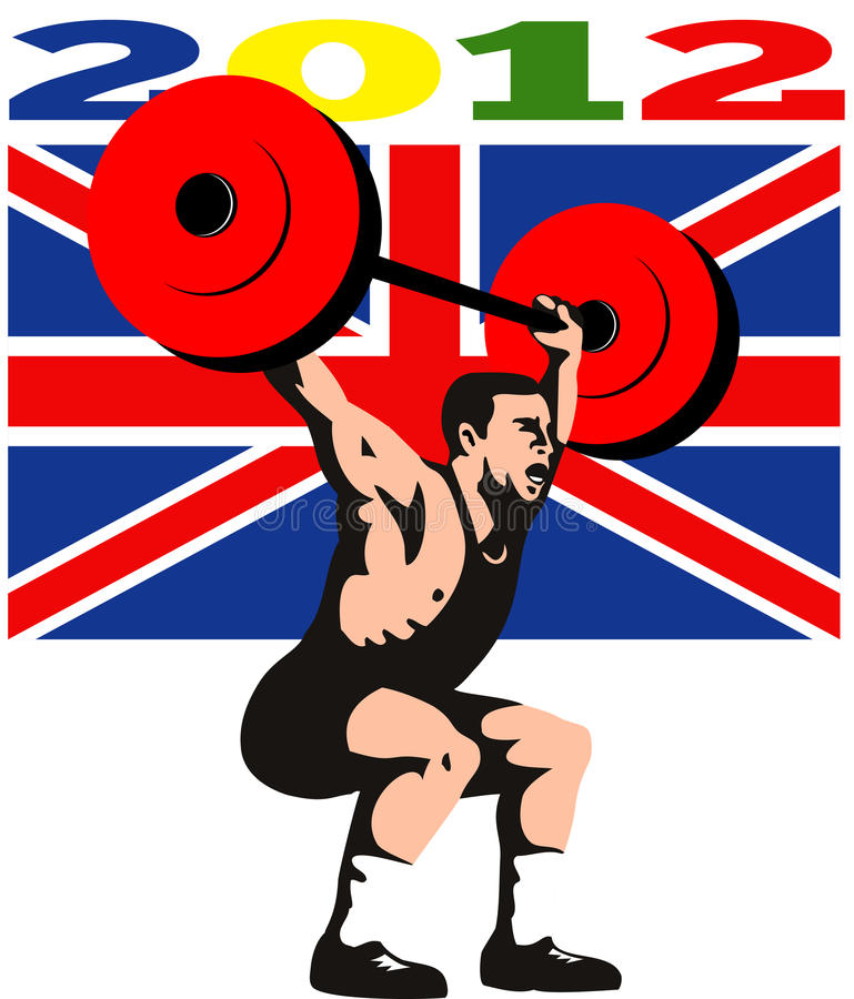 Download Games 2012 Weightlifting Retro British Flag Stock Illustration - Image: 24365211