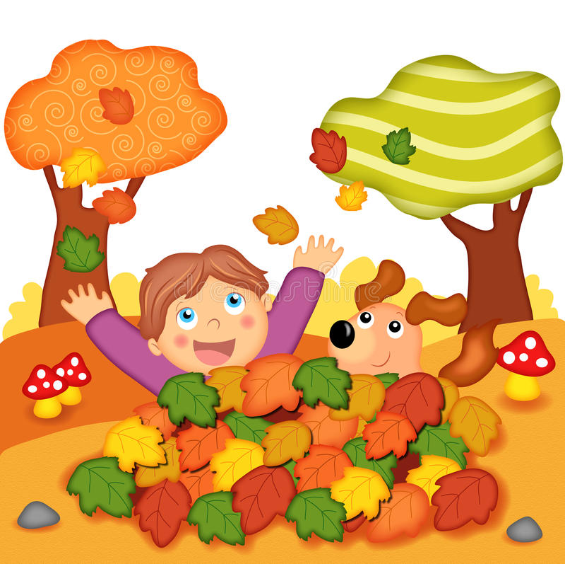 Games in autumn vector illustration