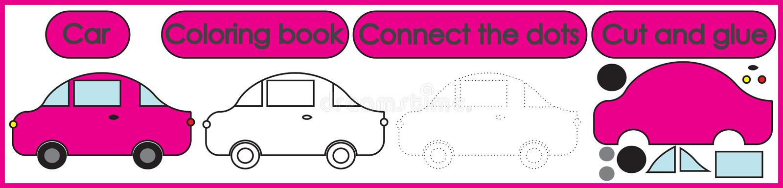 Games for children 3 in 1. Coloring book, connect the dots, cut. And glue. Car cartoon. Vector illustration stock illustration