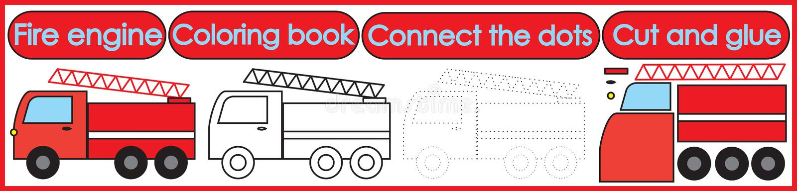 Games for children 3 in 1. Coloring book, connect the dots, cut. And glue. Fire engine cartoon. Vector illustration vector illustration