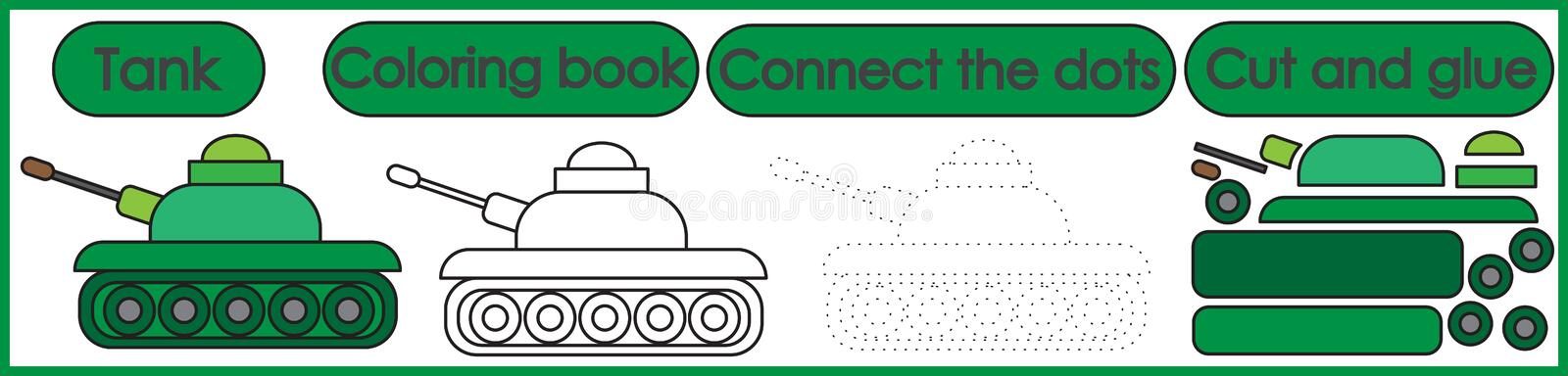 Games for children 3 in 1. Coloring book, connect the dots, cut. And glue. Tank cartoon. Vector illustration royalty free illustration