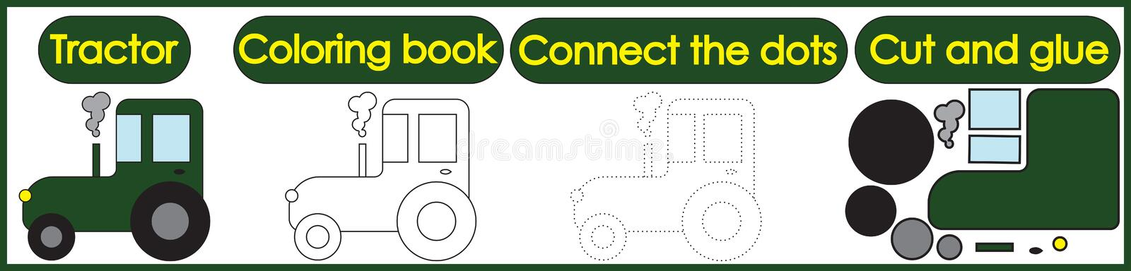 Games for children 3 in 1. Coloring book, connect the dots, cut. And glue. Tractor cartoon. Vector illustration royalty free illustration