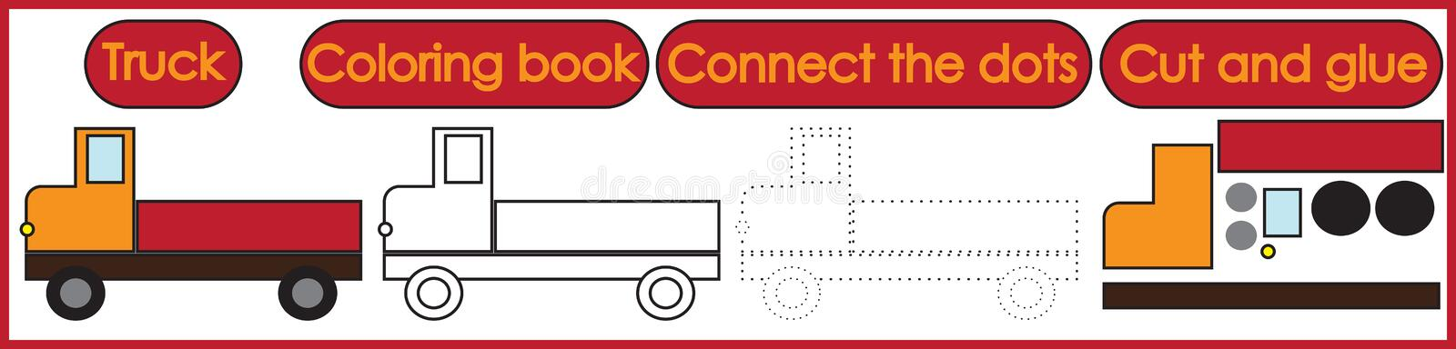 Games for children 3 in 1. Coloring book, connect the dots, cut. And glue. Truck cartoon. Vector illustration stock illustration