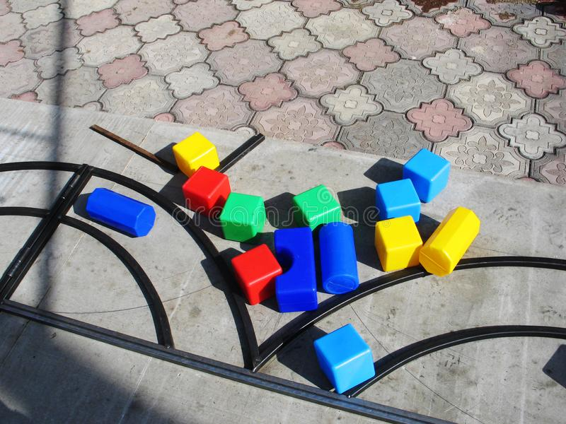 Games with children& x27;s educational toys colorful outdoor royalty free stock photo