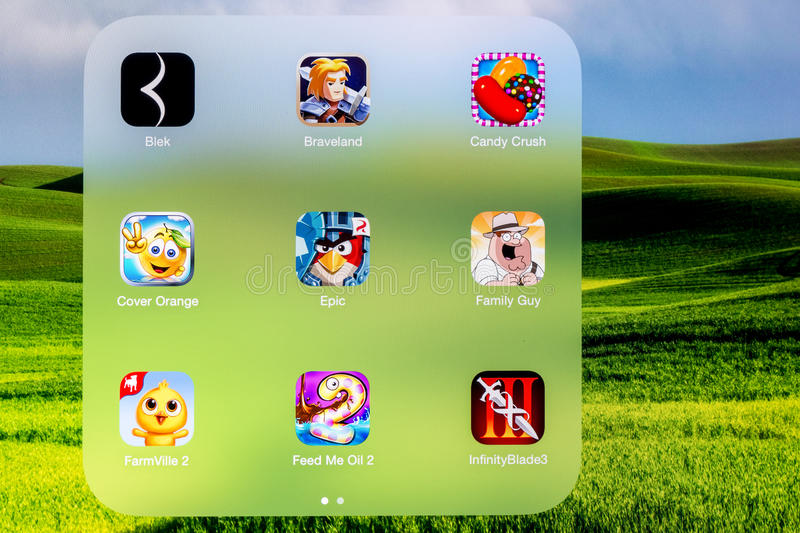 Games Folder On Apple iPad Air. BUCHAREST, ROMANIA - JUNE 16, 2014: Games Folder On Apple iPad Air royalty free stock images