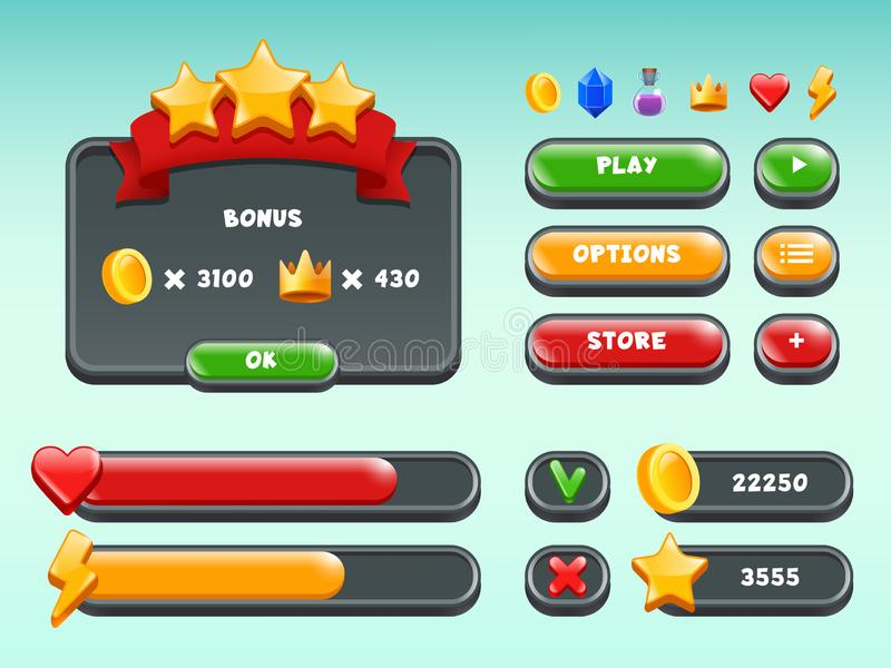 Games gui set. Mobile gaming user interface icons and items colored button status bar ribbons casual build vectors royalty free illustration