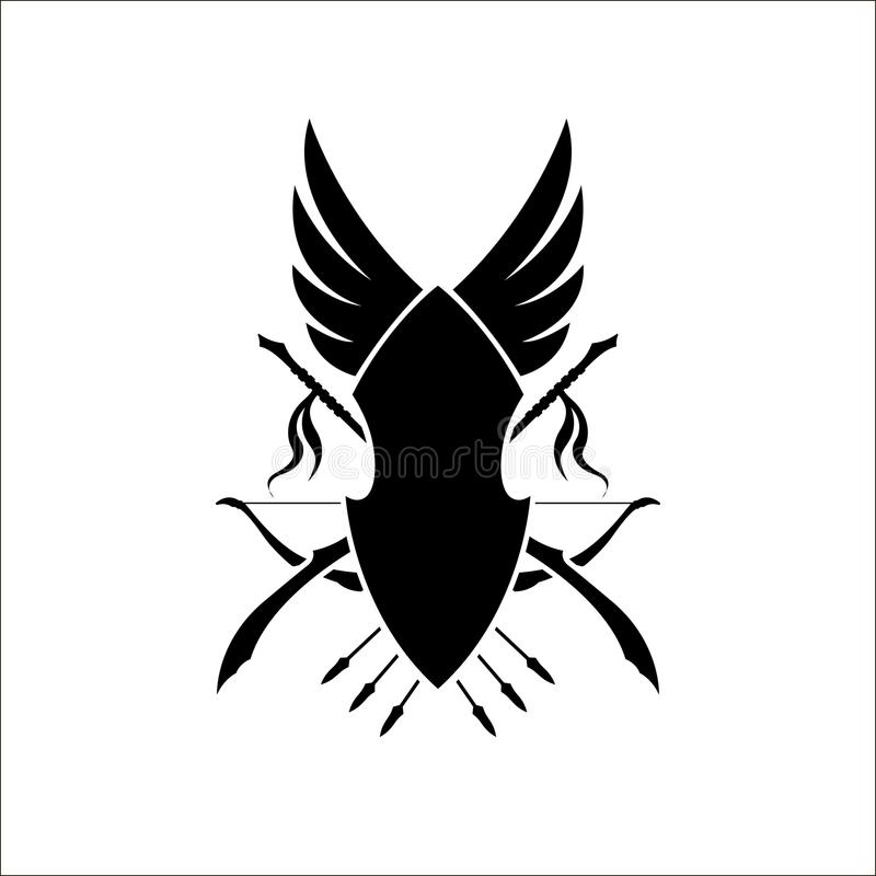 Games heraldic sign of elfs. Medieval coat of elven arms with a bow and spears. Black silhouette. Fantasy icon. Vector illustration vector illustration