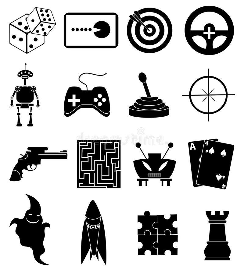Games icons set stock illustration