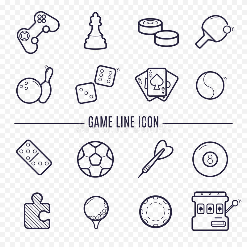Games linear icons. Logic, gambling, sports thin line icons. vector illustration