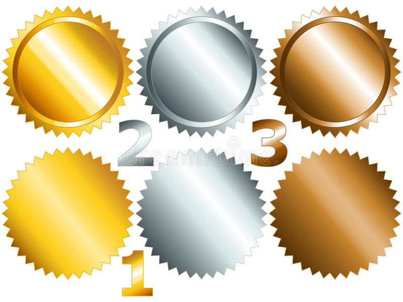 Games Medals Or Labels-set1 Royalty Free Stock Photo