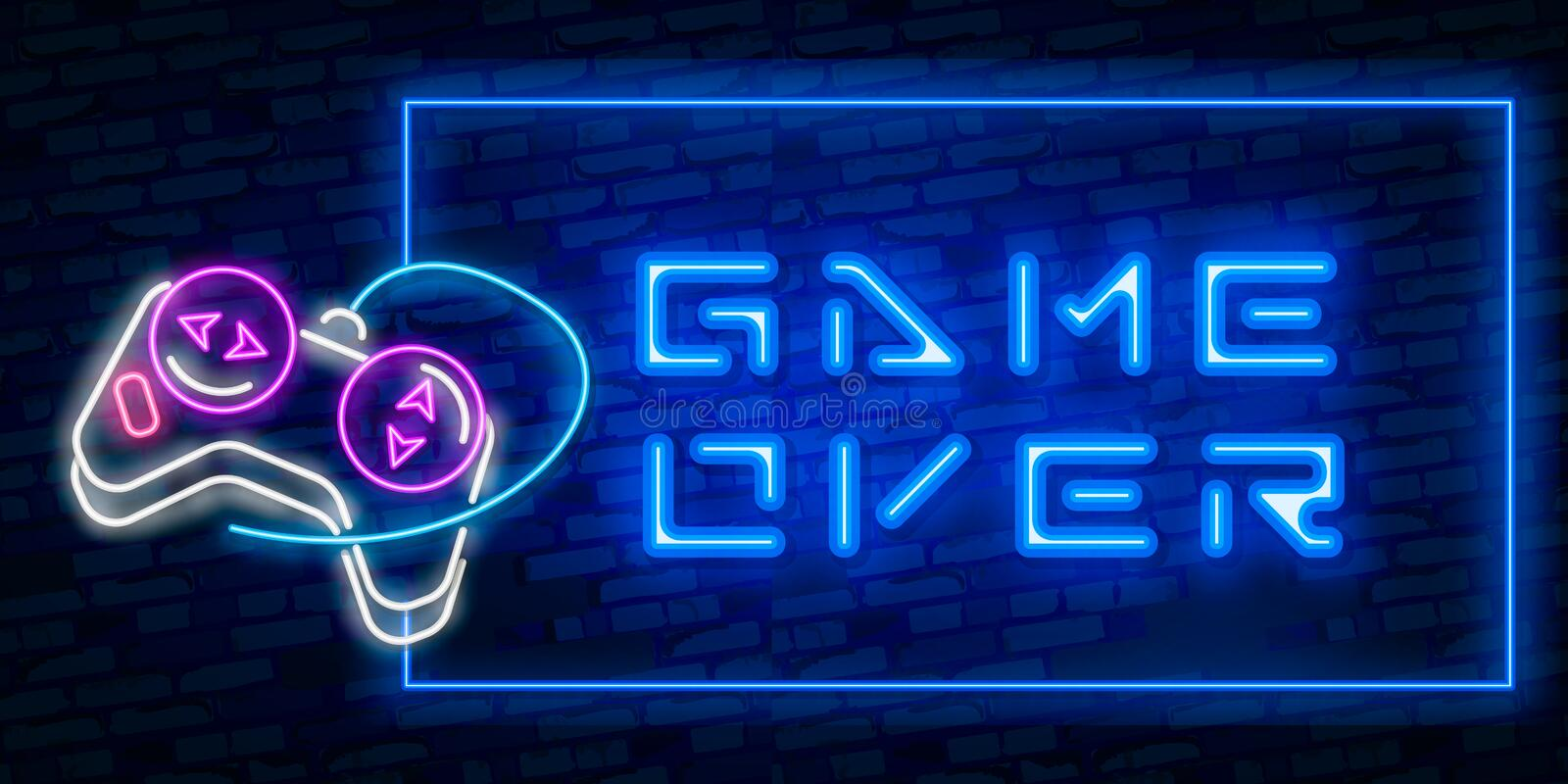 Games, over neon text with controller. Technology and entertainment concept. Advertisement design. Night bright neon sign, vector illustration