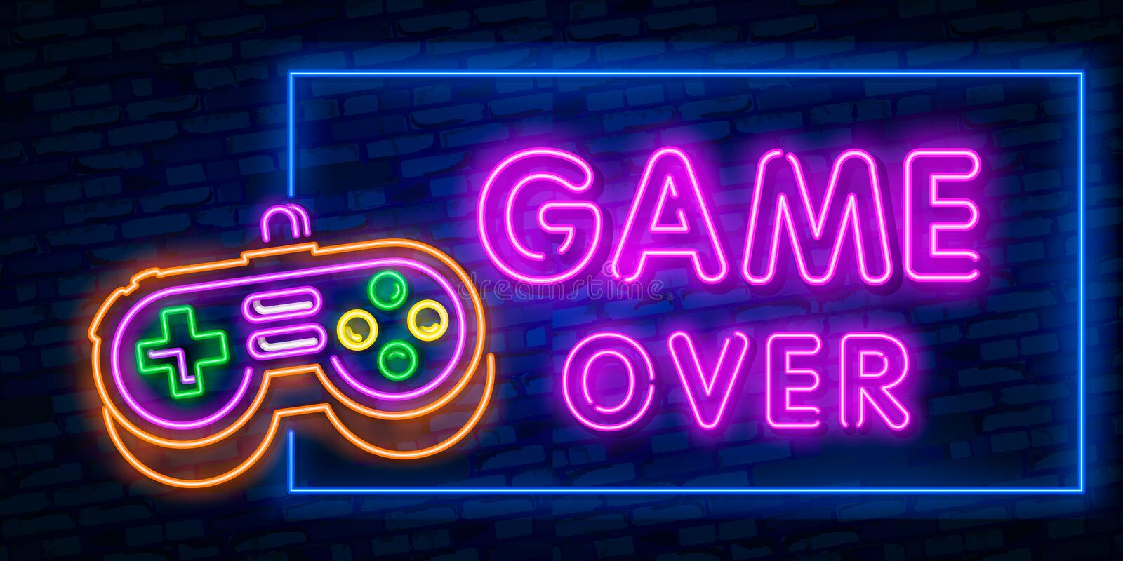 Games, over neon text with controller. Technology and entertainment concept. Advertisement design. Night bright neon sign, royalty free illustration