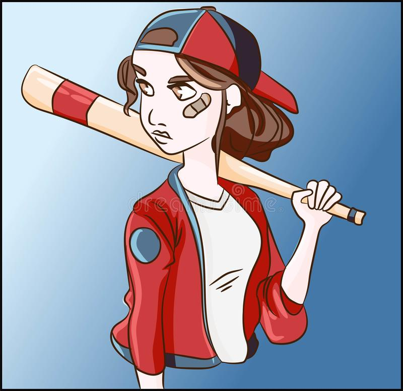 Games and sports champion winner illustration. Baseball tomboy woman with a bat training and exercise with the equipment uniform. Competitive and recreational stock illustration