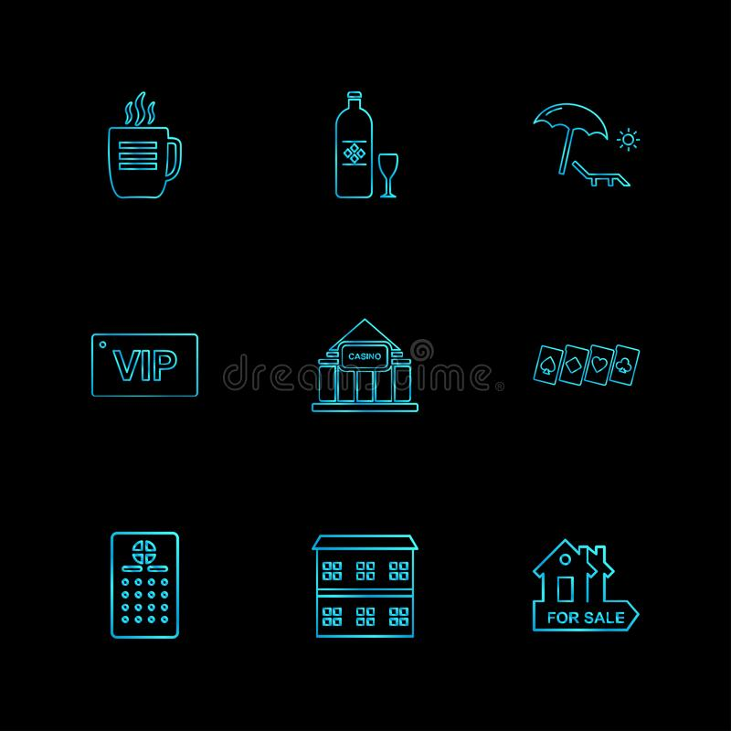 Games , sports , picinic , real estate , eps icons set vector. Games , sports , picinic , real estate , study , bowling, card , poker ,food , icon, vector stock illustration