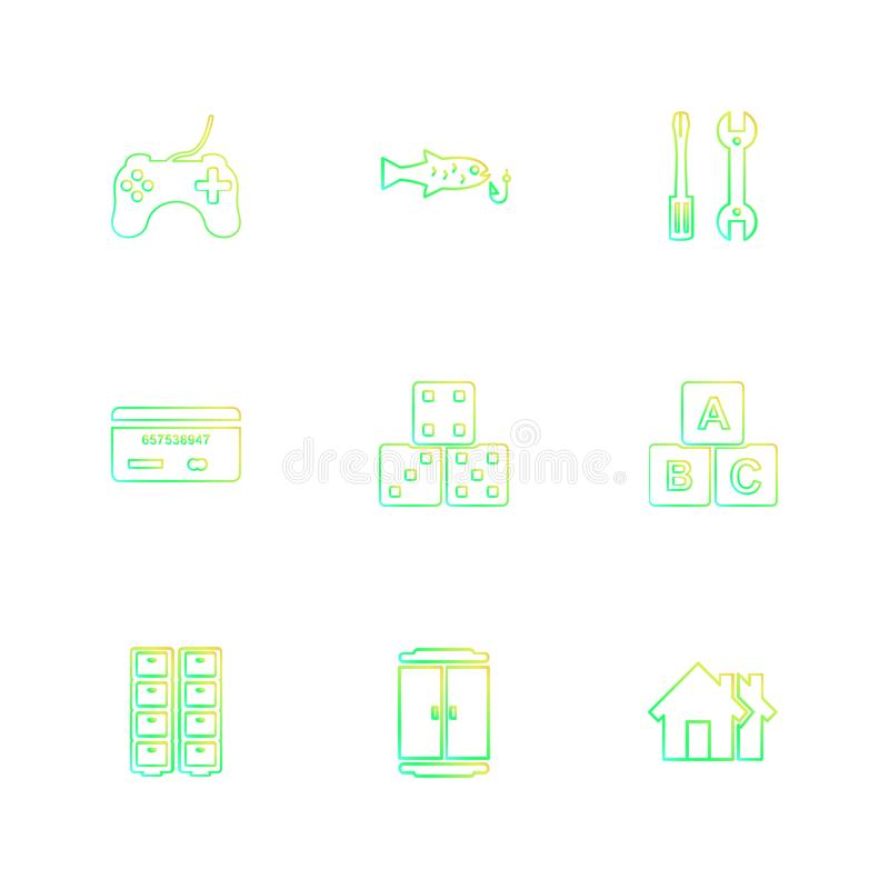 Games , sports , picinic , real estate , eps icons set vector. Games , sports , picinic , real estate , study , bowling, card , poker ,food , icon, vector royalty free illustration